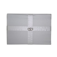 1 x Wedding 78pg Guest Book White Satin and Ribbon Hearts Ring Feature MQ-324