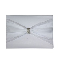 1 x Wedding 78pg Guest Book White Satin and Ribbon Diamante Ring Feature MQ-326