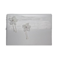 1 x Wedding 78pg Guest Book White Bow and Mini Pearls Ring Feature MQ-327