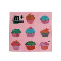 20 Pack Nine Pink Cup Cakes Design 2 ply Premium Party Napkins 33x33cm MQ-353