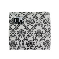 20 Pack Black and White French Design 2 ply Premium Party Napkins 33x33cm MQ-354