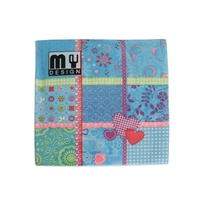 20 Pack Blue Patchwork Design 2 ply Premium Party Napkins 33x33cm MQ-358