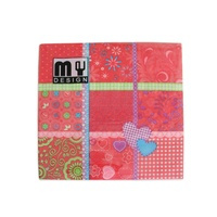 20 Pack Pink Patchwork Design 2 ply Premium Party Napkins 33x33cm MQ-358