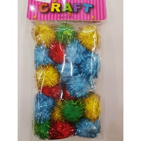 2 x 25g Packs of Multi Coloured Plush Metallic Fleck Pom Poms 3.5cm 36pce MQ498