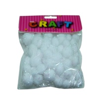 15g of White with Silver Fleck Plush Pom Poms Assorted Sizes 1-2.5cm MQ499