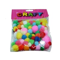 15g of Multi Coloured Plush Pom Poms Assorted Sizes 1-2.5cm MQ500