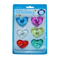 2 x Packs of Heart Shaped Gel Floating Candles 4x4cm Assorted Colours 2hr Burn
