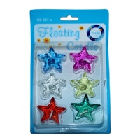2 x Packs of Star Shaped Gel Floating Candles 4x4cm Assorted Colours 2hr Burn