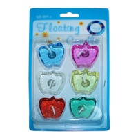 2 x Packs of Apple Shaped Gel Floating Candles 4x4cm Assorted Colours 2hr Burn