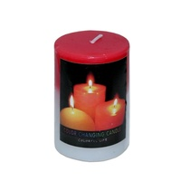 2 x Red Pillar Shaped Colour Change Candles When Lit They Change 5x7.5cm