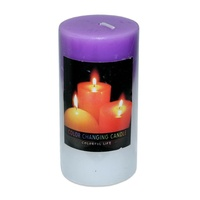 2 x Purple Pillar Shaped Colour Change Candles When Lit They Change 5x10cm