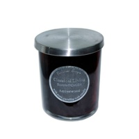 10cm Scented Candle in Glass Jar with Stainless Steel Lid Amberwood MQ-549