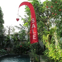 2m Red Bali Flag with Sale Printed on Both Sides in White Plus 210cm Telescopic Flag Pole