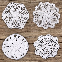 12pce Flower Design White Cotton Doily / Doilies Machine Crochet Home Decor / Dr