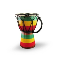15cm High, Wooden Bongo Drum with Goat Skin with Rusta Flag Painted on Base