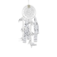 22cm Dream Catcher with Handmade Crochet Star Motif with Lace and Feather Decoration