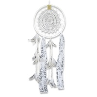 32cm Dream Catcher with Handmade Crochet Star Motif with Lace and Feather Decoration