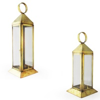 Moroccan Style, Square Hand Made Hanging Candle Holder, Made with a Brass frame and Glass Walls