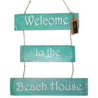 "39cm Wooden Hanging Aqua/Torquoise ""Welcome to the Beach House"" 3 Tier Sign, Home Decor"