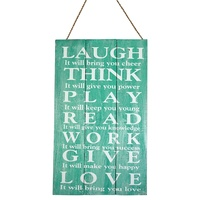 "50cm x 30cm Aqua/Turquiose Sign with ""Laugh, Think, Play"" Inspirational Quote, Wooden Hanging"
