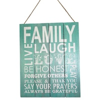 40cm x 50cm Aqua/Turquoise Sign with Family Inspired Quote, Home Décor, Wooden Hanging