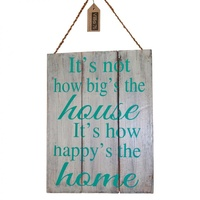 "40cm x 30cm ""Happy Home"" Inspiration Quote on Wooden Hanging Sign"