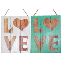 "30cm ""Love"" Wooden Hanging Sign, Shabby Chic, Beach House Style with Heart"