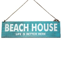 "40cm x 12cm ""BEACH HOUSE Life"" Wooden Hanging Sign, Shabby Chic"