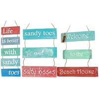 50cm x 20cm Stringed Wooden Tier Colourful Hanging Sign, Beach House Quotes
