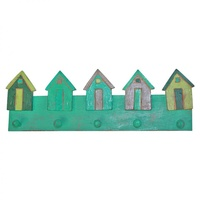 50cm x 18cm Keys/Coat Hanger Rack with Beach Houses in Turquoise Wooden