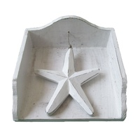18x18cm Napkin Holder with Star in White Wash Vintage Beach Style