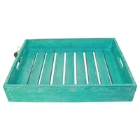 1pce Turquoise Blue Wash Wooden Carry Tray with Slats, Hand Made, Beach House