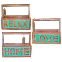 1pce Wooden Carry Box, Turquoise and Natural, Hand Made, Beach House