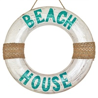 "40cm Wooden Life Ring in White Wash with Turquoise Wording ""BEACH HOUSE"", Nautical"