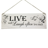 "40cm x 15cm ""Live, Laugh Often"" Inspirational Quote On Wooden Sign, Vintage Style"