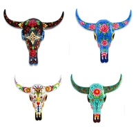 15cm Hand Painted Cow Skull Wall Art, Made of Resin, Sugar Skull