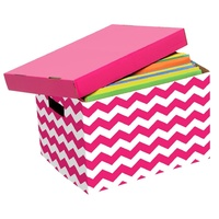1pce Cheveron Design Marbig Patterned Archive /Craft Box Pink and White