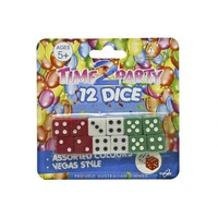 12pce Vegas Dice Set, 3 Colours