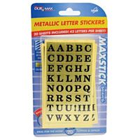 20 x Sheets Metallic Letter Stickers (800 Stickers in Total)