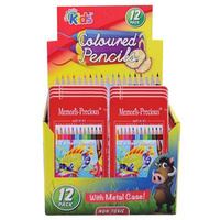 12pce Colouring In Pencils w/ Metal Case Great for School or Home Art and Crafts, Sketching