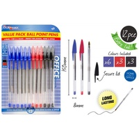 12pce Ball Point Pens. 6 x Blue. 3 x Red. 3 x Black. School. Office.Stationery