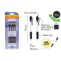4pce Black Ball Point with Rubber Easygrip, Great for Home, School, Work