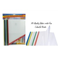 5pce A4 Clear Presentation Folders with Plastic Spine. 5 Assorted Colours
