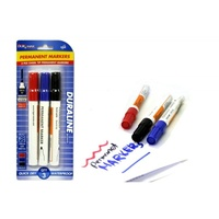 3pce x Permanent Markers with Chisel Tip. Red, Blue and Blsck. Assorted Colours