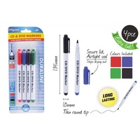 4pce CD Permanent Markers - Red, Blue, Black, Green. Assorted Colours.