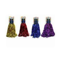 PURPLE - 1 pair of Cheer Leading Pompoms Metallic - PY385
