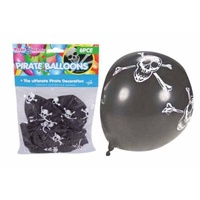 6pce Black Pirate/Skull & Cross Bones Baloons Black with Design
