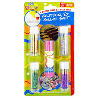 4pce Glitter Tubes & 1pce Glue Stick Craft Scrapbooking Set, Kids Fun Size