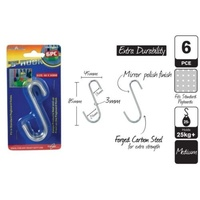 2 x Pcks of 6pce S-Hooks 85x45mm Medium (12 Hooks in Total)