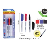 3pce Permanent Markers with Pointy Tip. Blue, Red, Black. 3 Assorted Colours